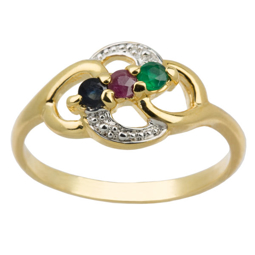 Picture of Golden Three Stone Multicolor Ring